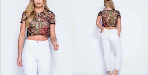 Women Floral Mesh Sheer Embroidered See-through Crop Tops T Shirt Blouse